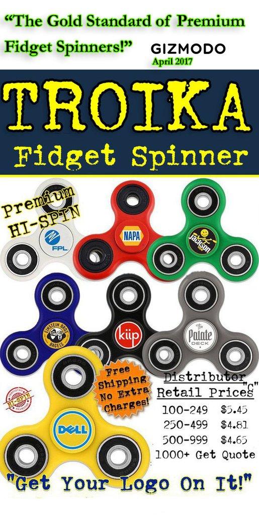 troika promotional fidget spinner.
