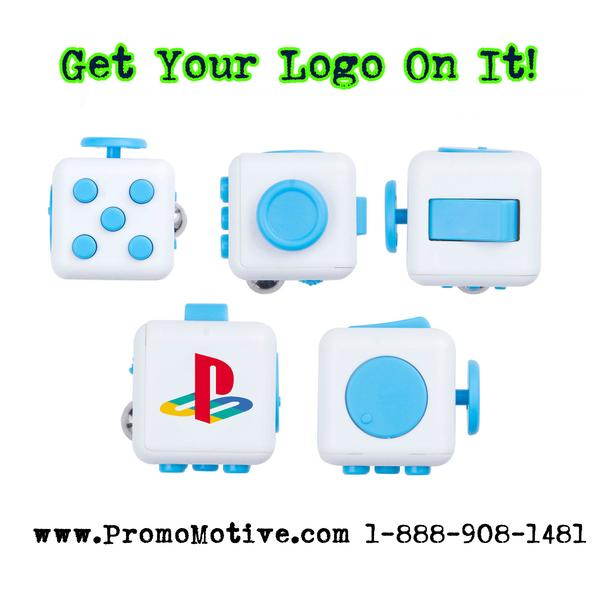 promotional product fidget cubes. Get your tradeshow or event logo ona fidget cube.