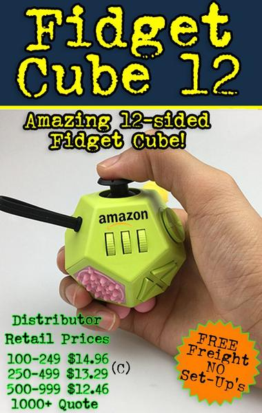 12 sided fidget cube for promotional product marketing. Logo on a 12 sided fidget cube.