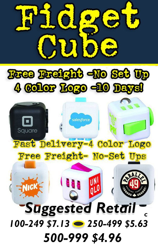 Fidget Cube promotional product for tradeshows, advertising and brand identity.