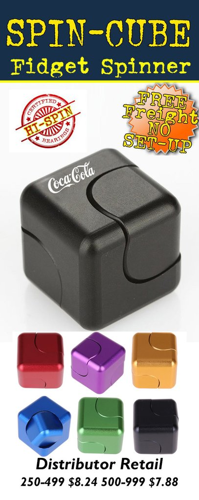 spin cube spincube metal fidget cube spinner for promotional product marketing and tradeshows.