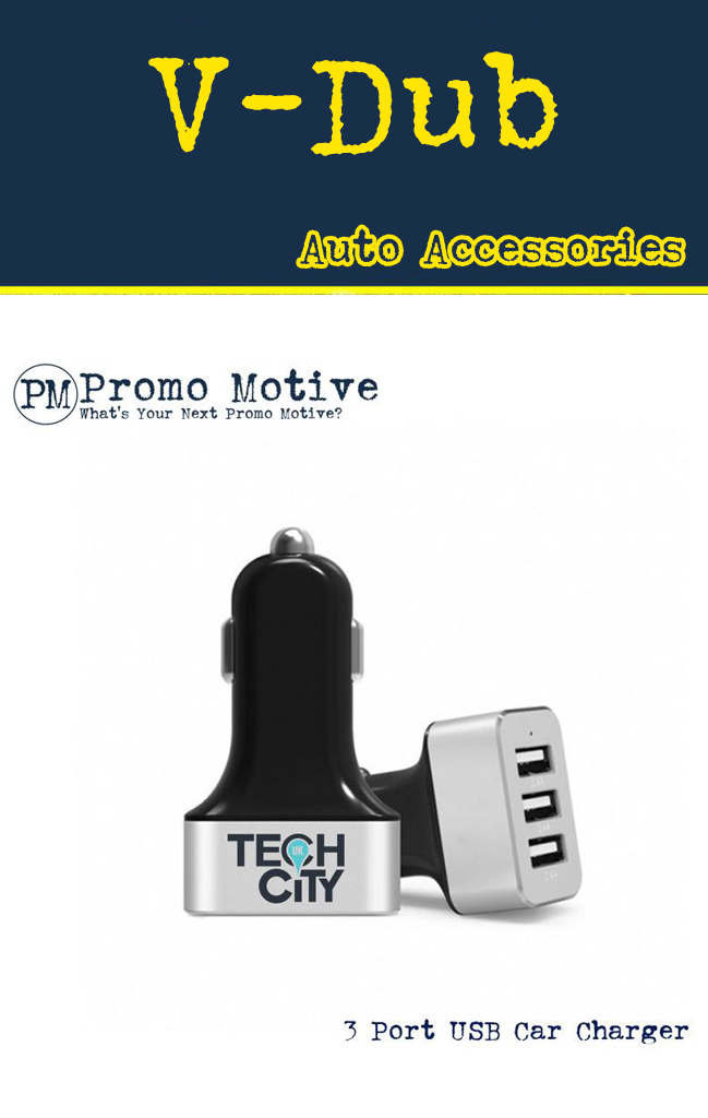 Black USB Phone Charger with logo