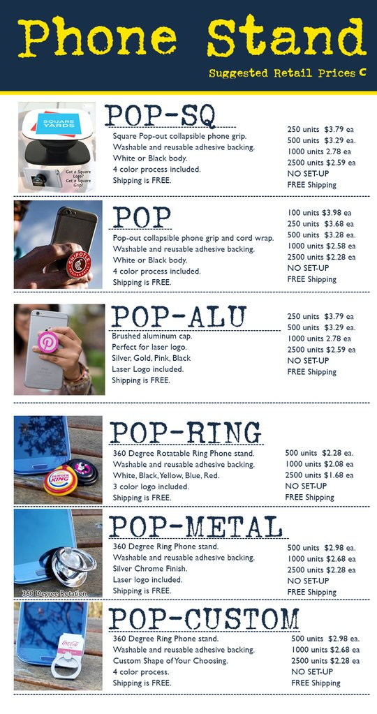 promotional product pricing on pops, popsockets, propring for tradeshow giveaway