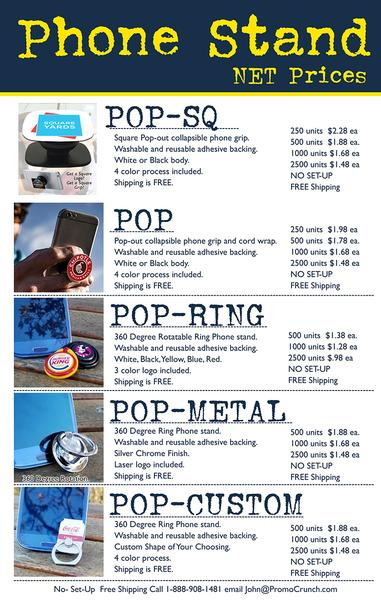 pop phone holders and swag tradeshow giveaway prices