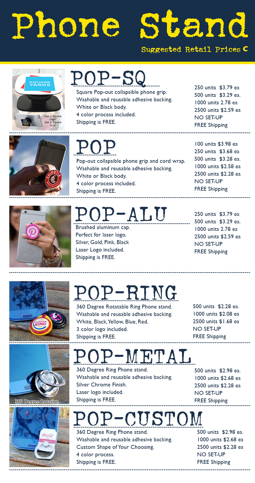 coded pop phone stand prices socket pop prices for tradeshow, b2b, corporate, ad specialty, promotional product.