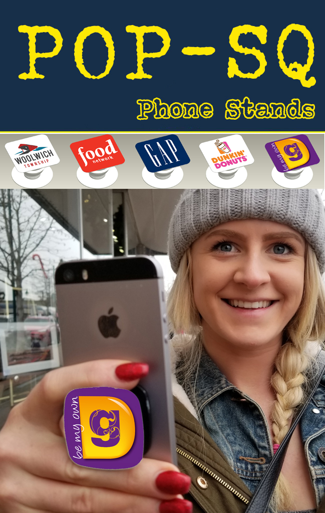 Get your business logo on a square pop or phone pop socket for promo, tradeshow and b2b marketing swag. Get Your Logo on it.