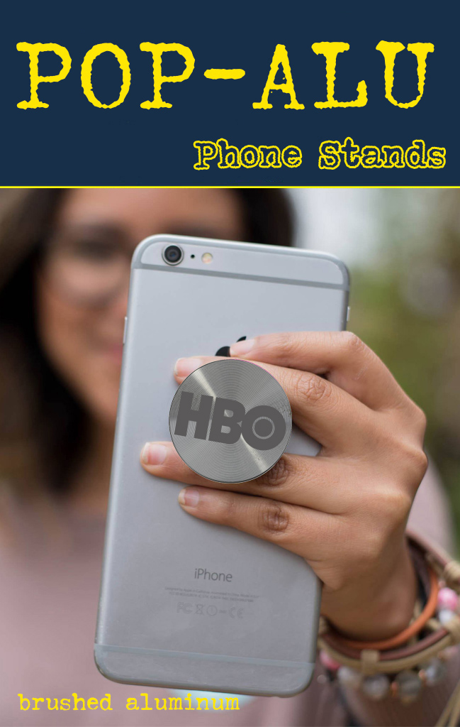 brushed metal aluminum pop socket style tradeshow and b2b marketing phone stands