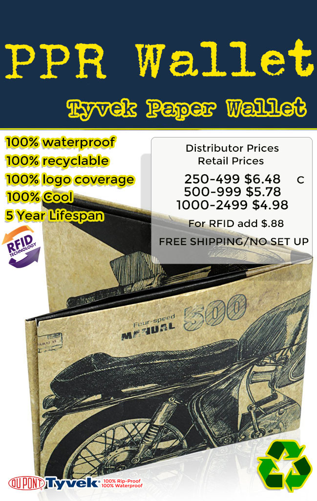 tyvek paper wallet for promotional products