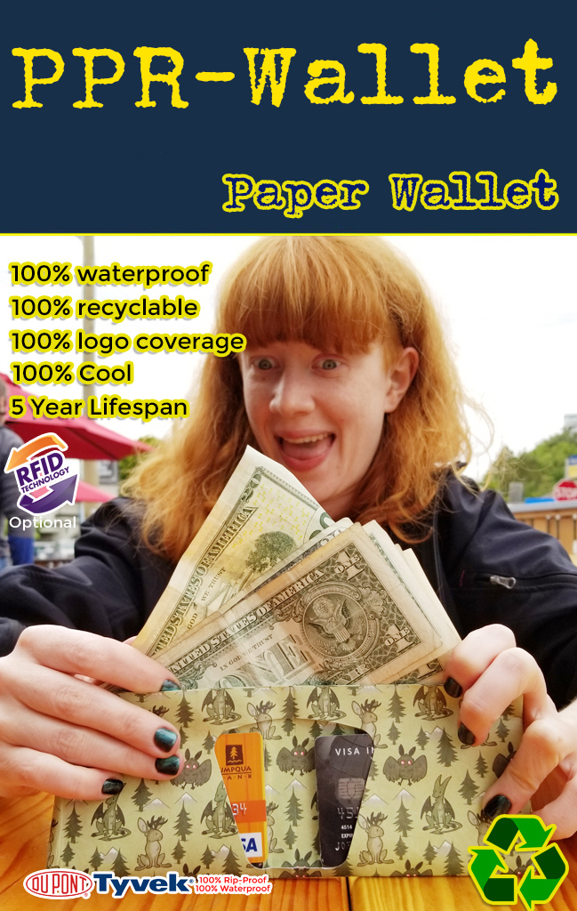 get your logo or business marketing message on a water proof tyvek paper wallet. Wholesale pricing on this fully imprintable tyvek paper wallet.