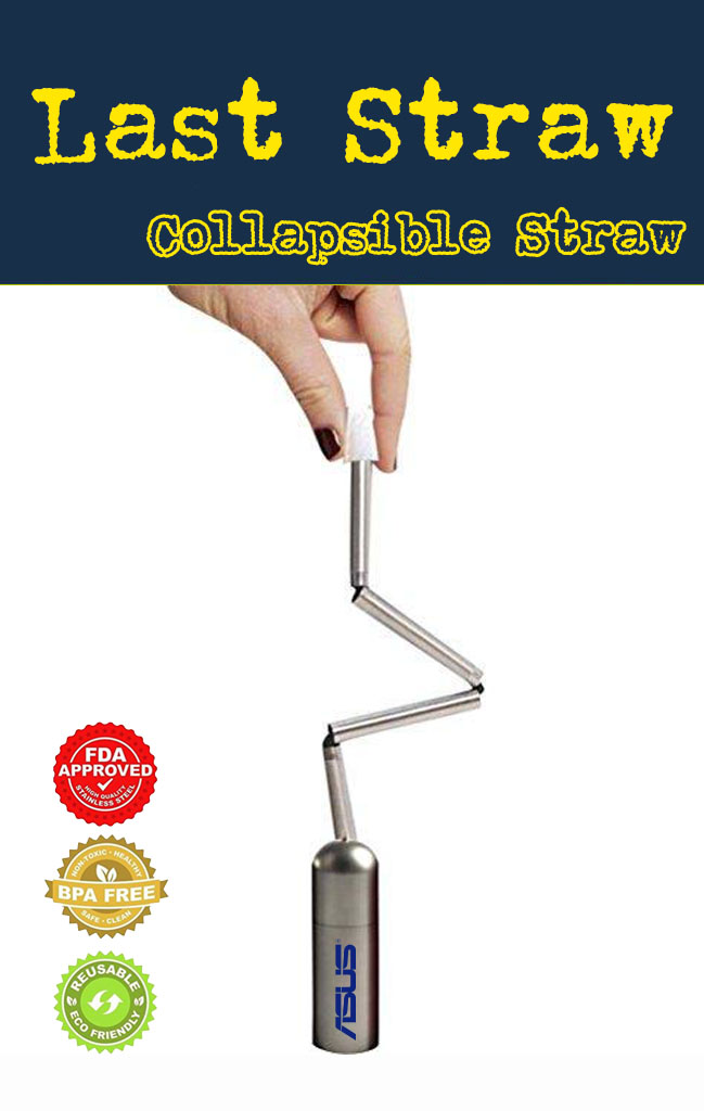 folding stainless steel collapsible drinking straw