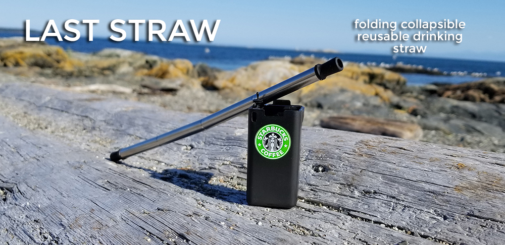 black folding reusable collapsible drinking straw