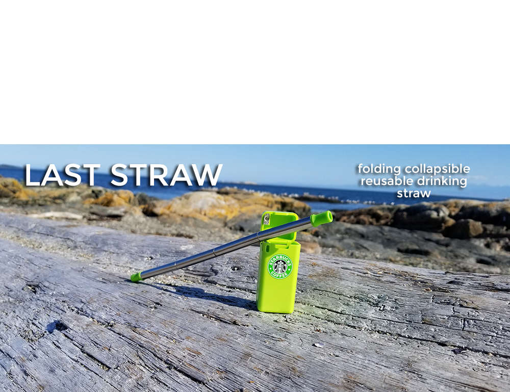 put your logo on a collapsible folding drinking straw green color