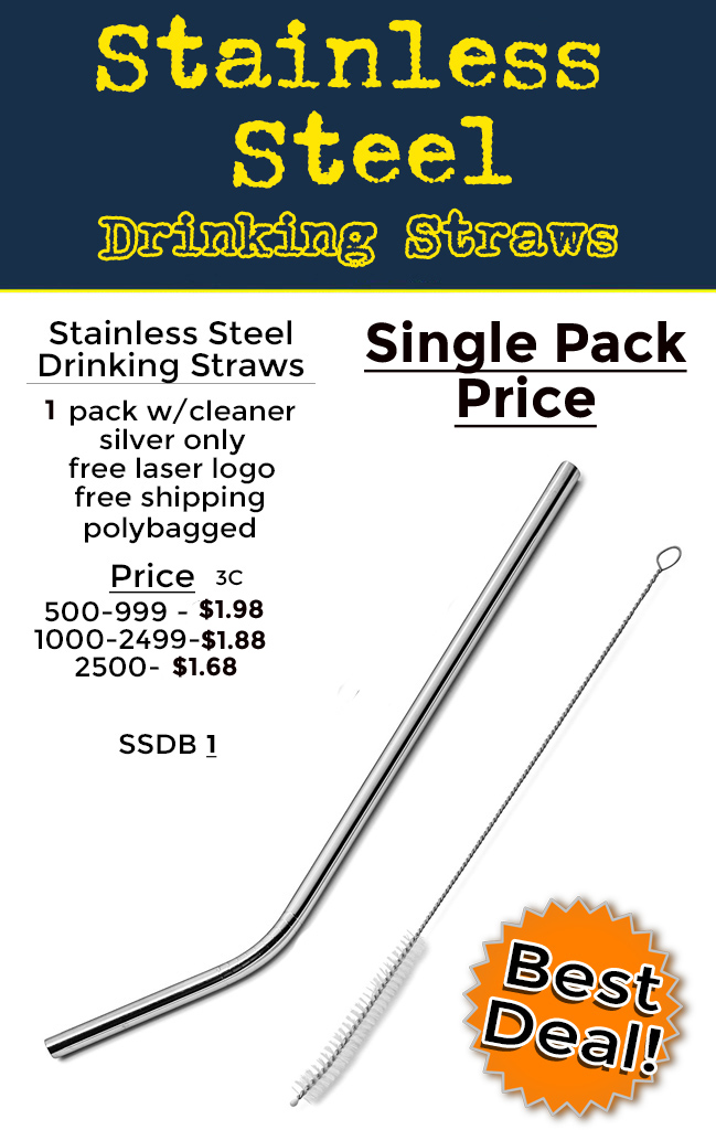 Get your logo or brand on an inexpensive food grade stainless steel drinking straw.