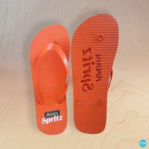 promo flip flop sandals with logo.