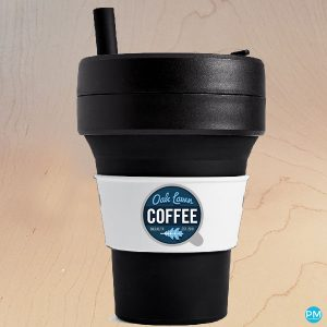folding collapsible coffee cup 16 ounce black